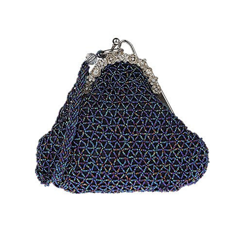 20X17cm PARTY BAG EVENING Blue PARTY BEADED BEADED BEADED EVENING BAG COCKTAIl 20X17cm WEDDING Blue COCKTAIl WEDDING AtgnBOW