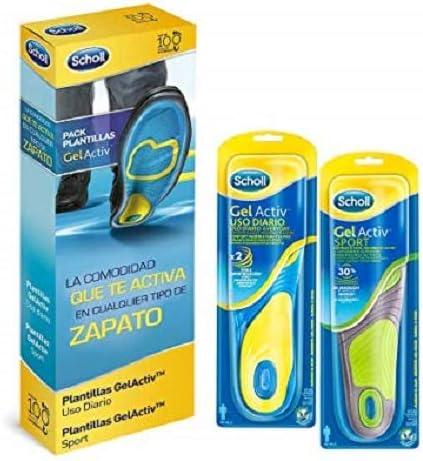 Scholl Gel Activ, pack de 2 plantillas, uso diario y sport, para hombre, talla 40-46.5, total 4 plantillas