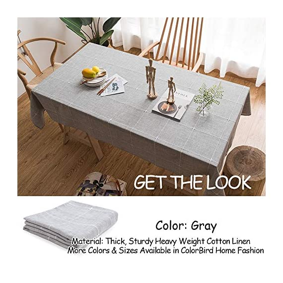 "ColorBird Solid Embroidery Lattice Tablecloth Cotton Linen Dust-Proof Checkered Table Cover for Kitchen Dinning Tabletop Decoration (Rectangle/Oblong, 52 x 70 Inch, Gray) - MASTERFUL DESIGN - Featuring elegance embroidered lattice pattern on soft hue cotton linen fabric with seamless hemstitched, this ColorBird elegant modern tablecloth will not only add to the beauty of your home but will also make your meal-time both fun and relaxing ANTI-WRINKLE&ANTI-SHRINK - Super, hard wearing 100% cotton linen is more wrinkle-proof and shrink-proof, hemmed edge adds a finished look and prevents wear and tear; Tablecloth measures 52"" Width x 70"" Length (130 x 180 cm), size deviation is between 1 to 2 inch. Fits tables that seat 4-6 people EASY TO CARE FOR - Machine washable in low temperature or cold water, gentle cycle; Hand wash best; No bleaching; Tumble dry on low heat or lay flat to dry - tablecloths, kitchen-dining-room-table-linens, kitchen-dining-room - 51IwlNZB%2BZL. SS570  -"