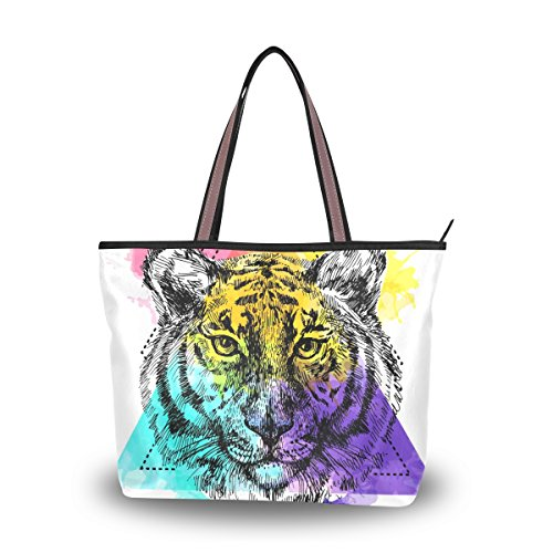 Tigers Zipper Top Handbag (My Daily Women Tote Shoulder Bag Colored Tiger Face Handbag Medium)