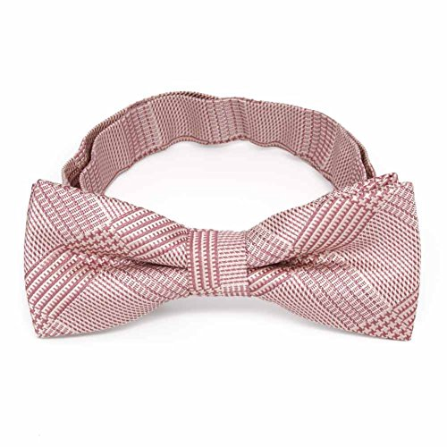 (TieMart Boys' Cameo Pink Michael Glen Plaid Bow Tie)