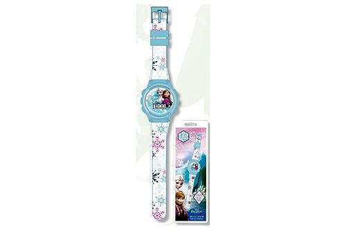 Disney Frozen - Reloj digital, diseño de copos de nieve e imagen de Elsa y Anna, color blanco: Amazon.es: Joyería