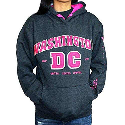 Washington DC Women's Gray with Pink Letters Pullover Hoodie Sweatshirt (XX-Large) (XX-Large)
