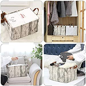 Sea-Team-Moroccan-Pattern-Canvas-Fabric-Storage-Basket-Collapsible-Geometric-Design-Storage-Bin-with-Drawstring-Cover-and-PU-Leather-Handles-165-by-118-inches-Waterproof-Inner