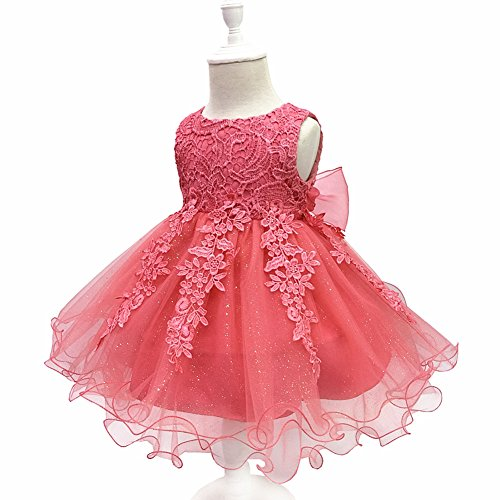 LZH Baby Girls Birthday Christening Dress Baptism Wedding Party Flower Dress for Newborn Infant(5801-Watermelon,12M