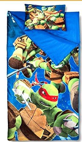 Ninja Turtle Sleeping Boys Slumber Bag (45 Degrees Fahrenheit) and Pillow 2 Piece Set