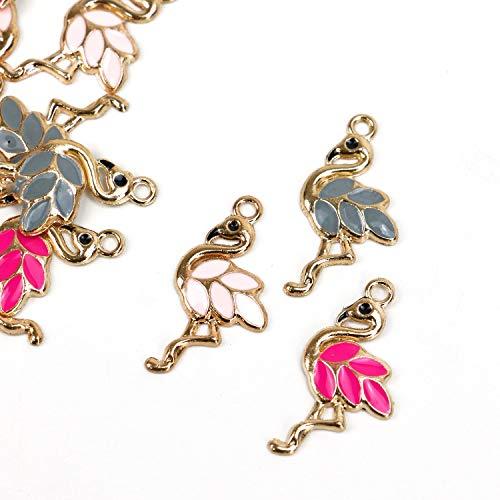 JETEHO 30 Pcs Glitter Enamel Flamingo Charms Pendants Bracelet Jewelry Making and Crafting
