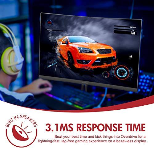 Viotek GN24CW Gaming Monitor with Speakers, 1080P VA Panel, HDMI DisplayPort FreeSync – VESA