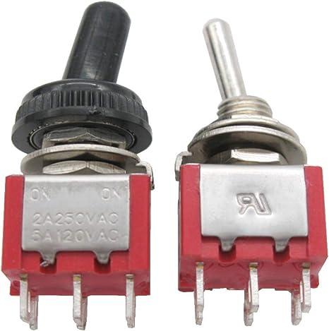 Mxuteuk 10 Stück Mini Kippschalter Dpdt 2 Position 6 Pins On On Ac 125v 5a Mit Wasserdicht Schutzkappe Mts 202 10mz Baumarkt