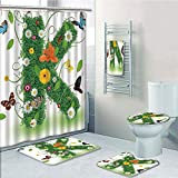 Bathroom Fashion 5 Piece Set shower curtain 3d print,Letter K,Uppercase K Green Themed Image with Nature Inspirations Animals Plant Life,Green Multicolor,Bath Mat,Bathroom Carpet Rug,Non-Slip,Bath Tow