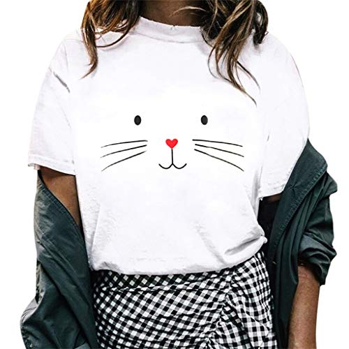 YKARITIANNA Women Girl Summer Cute Soft Casual O-Neck Cat Print Tops Tee Shirts Blouse