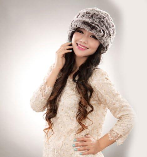 URSFUR Fashion Womens Real Rex Rabbit Fur Peaked Caps Hats Spiral