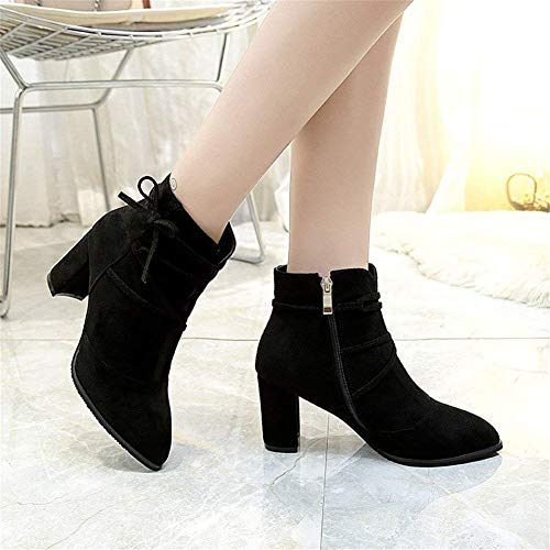 Boots 38 High Warm heeled Zipper Da Eu Booted Donna Shoes Strap Deed Side Scarpe Elegant 's g7Sqcv6wI