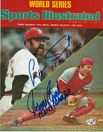 JOHNNY BENCH REDS/LUIS TIANT RED SOX SPORTS ILLUSTRATED COVER SIGNED 8x10 - Autographed MLB Photos