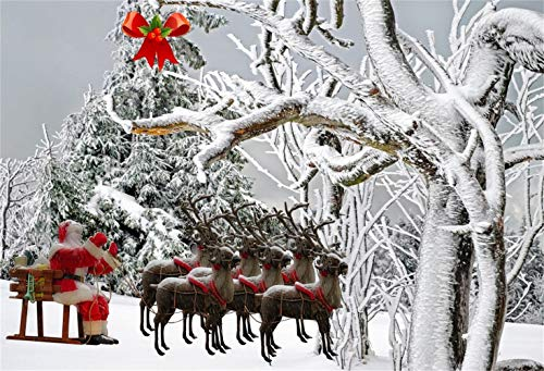 Laeacco Christmas Theme Backdrop Vinyl 5x3ft Snowy Forest Frosty Trees Santa Claus Reindeers Pull The Sled Xmas Tree Red Bow Scene Photo Background Xmas New Year Party Banner Child Baby Adult Shoot