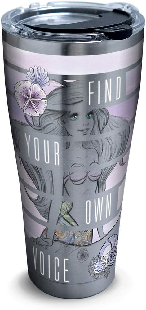 Tervis 1326404 Disney - Little Mermaid Find Your Voice Insulated Travel Tumbler with Lid 30oz - Stainless Steel Silver