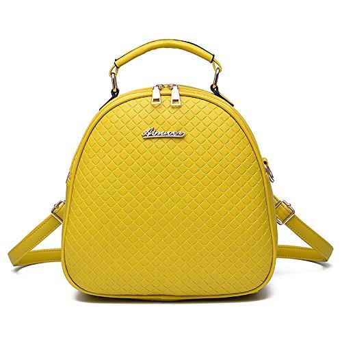 RFVBNM Mochila de las mujeres mochila de moda Bolsas de alta calidad de las señoras Mochila Mini bolso femenino mochila de cuero de la PU Mochilas para niñas mejor regalo para niñas, amarillo Amarillo