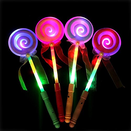 LED Light Up Wand - 4Pcs Assorted Color 13inch Fairy Lollipop Glow Sticks for Kids Concert Party Favor Night (Concert Glow Sticks)
