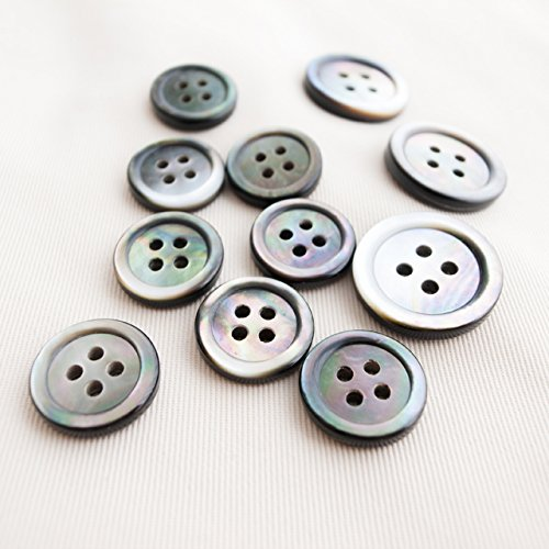 Takashima Black Mother of Pearl Buttons,(Black Lip Oyster)#00017JK Four-Hole,15mm(5/8'')8Pieces&20mm(13/16'')3Pieces Suit Buttons Set ()