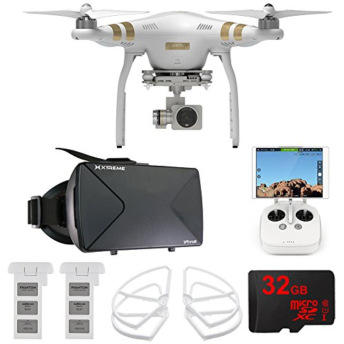 DJI Phantom 3 Pro Quadcopter Drone w/ 4K Camera FPV Virtual Reality Experience includes Drone, Virtual Reality Viewer, Intelligent Flight Battery, Propeller Guards and 32GB microSDHC Memory Card