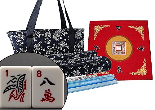 We pay your sales tax American Mahjong Set with Free Table Cover ~ Mahjong Set with Table Cover Packaged (Blue) Phoenix Soft Bag 4 Color Pushers/Racks Easy Carry Western Mahjongg