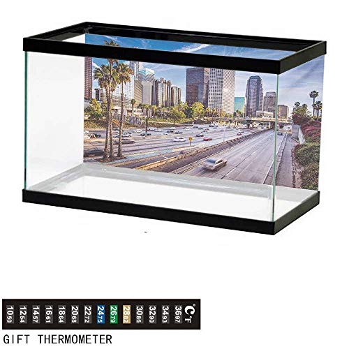 wwwhsl Aquarium Background,Travel,Downtown Cityscape of Los Angeles California USA Avenue Buildings Palms Print,Blue Grey Green Fish Tank Backdrop 36