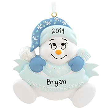 Amazon.com: Personalized Baby's First Christmas Boy Snowman ...