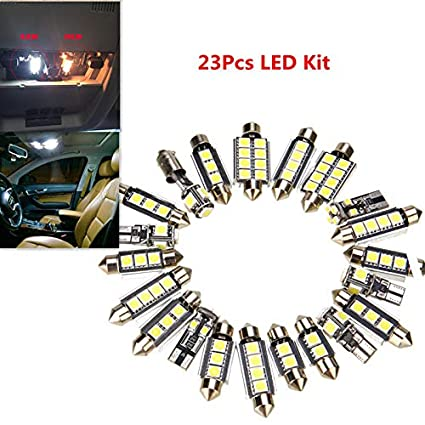 23Pcs LED White Car Inside Light Dome Trunk License Plate Lamp Interior Bulb Kit