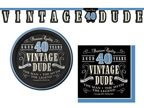 Vintage Dude 40th Birthday Party Supplies Bundle - 3 Items: Appetizer/Dessert Plates, Napkins & Decorative Banner -