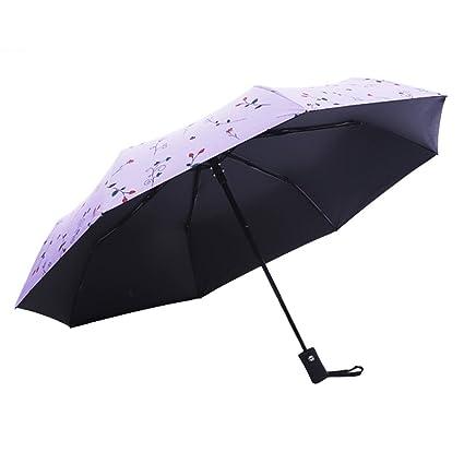 Paraguas plegable automático de apertura y cierre paraguas de secado rápido viaje paraguas morado Morado