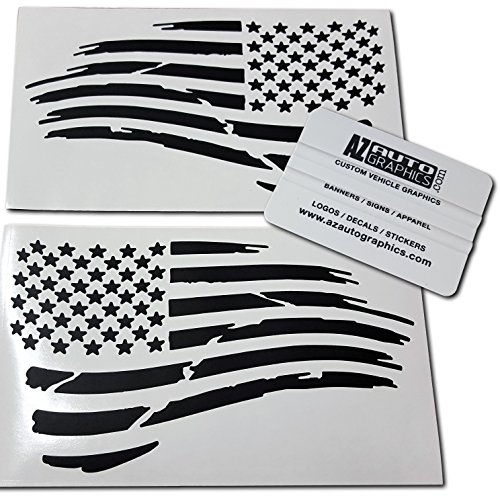 Az AutoGraphics Pair Distressed USA American Flag Decal Die-Cut Grunge Subdued Tattered Military (Matte Black) -