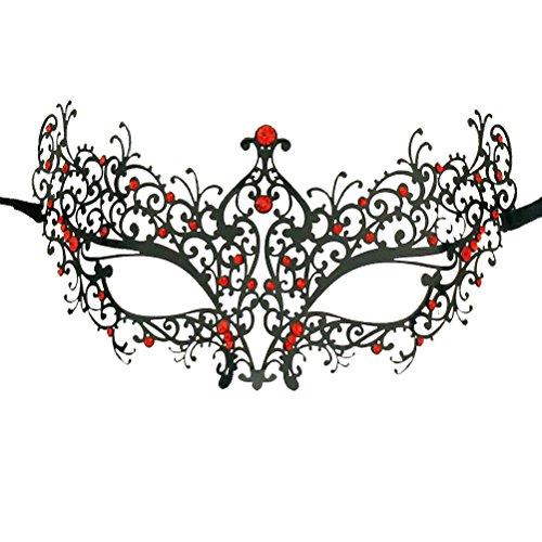 Xvevina Women's Rhinestones Metal Luxury Venetian Laser Cut Masquerade Filigree Mask (Black Metal/Red Stones)