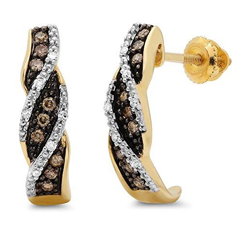 0.20 Carat (ctw) 10K Yellow Gold Round White And Champagne Diamond Ladies Swirl Hoop Earrings 1/5 CT