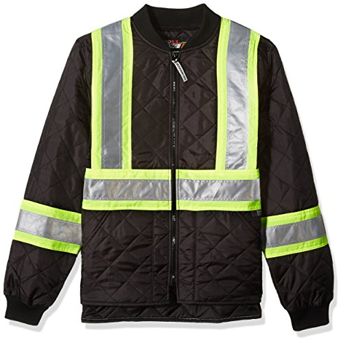 Work King Safety Men's Hi Vis Quilted Safety Jacket, Black, M