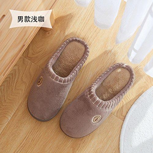 Cotone fankou pantofole inverno gli uomini e le donne al fine di non-slip home home carino pacchetto caldo con le coppie furflies pantofole inverno 42/43 (per 41-42 piedi) colore solido - luce colore