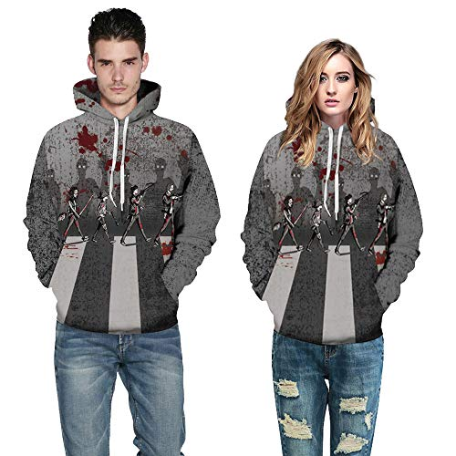 Price comparison product image MOONHOUSE Women Lover's Halloween Scary Pullover Coat 3D Skeleton Printed Hoodie Long Sleeve Party Sweatshirt Tops Blouse (L / XL,  Gray)
