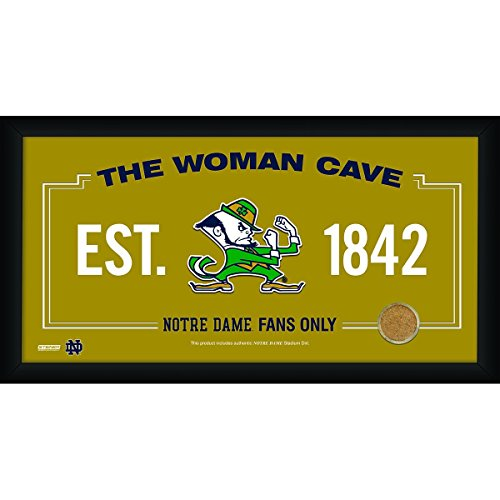 Ball Sign - Notre Dame Fighting Irish Logo 10x20 Framed WOMAN CAVE Sign with Game Used Football Dirt