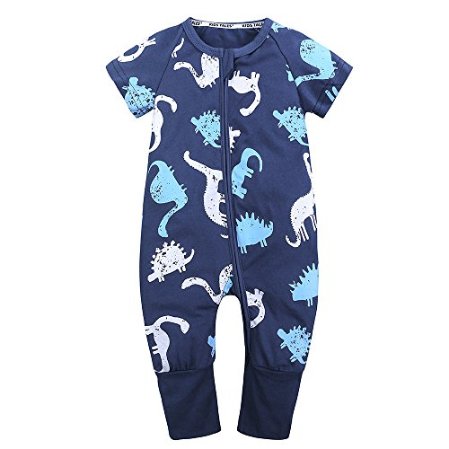 Size 3M-3T Kids Tales Baby Boys Girls Zipper Short Sleeve Pajama Sleeper Cotton Romper