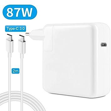 87W USB-C Tipo C Cargador Rápido para MacBook Pro USB C Cargador 13/15 Pulgadas (2016 Late) (A1534 A1706 A1707 A1708) Macbook Air 12 Pulgadas (2015 ...