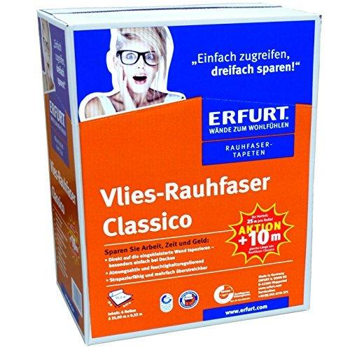 (0,62/m²) 1 Karton mit 6 Rollen Erfurt Vlies Rauhfaser CLASSICO AKTION 79,5m² Raufasertapete