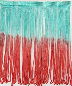 2 Yards Tie-Dye Ombre Multicolor Chainette Thread Yarn Tonal Loop Fringe 7 Long Coral Orange Light Sea Green Shades Hand Dyed Sewing Quilting Renaissance Dance Hawaiian Costumes Outfit Drapery