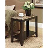 Monarch Specialties Top Accent Side Table, Cappuccino/Marble