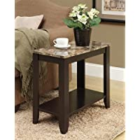 Monarch specialties I 3114, Accent Side Table, Marble-Look Top, Cappuccino, 24L
