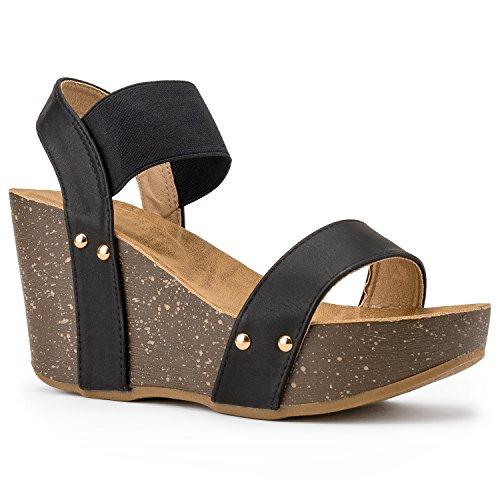 RF ROOM OF FASHION Women's Ankle Strap Comfort Platform Cork Wedge | High Heel Slingback Sandals | Elastic Band Black ()