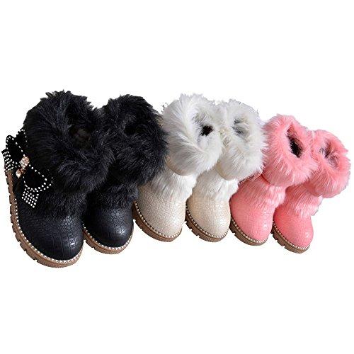 Baby Mädchen Schneestiefel Kleinkind Warm Halten Kaninchen Schneestiefel Weiche Sohlen Schuhe rutschen flache Stiefel Schwarz Rosa Weiß Rosa