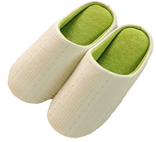 Blubi Donna In Spugna Di Cotone Foderato In Pelle Scamosciata Suola Colore Caramelle Pantofole Morbide Pantofole Calde Strisce Verdi