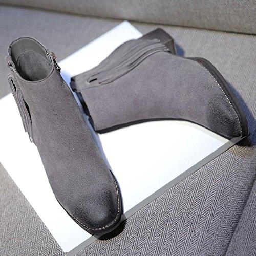 stivali stivali da 37 stivaletti bovina pelle l'inverno frange bassa GRAY donna testa con NSXZ l'autunno in con e con 36 HwdAqwf5