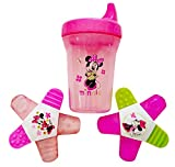 Minnie Mouse Water-Filled Teether (2 Pack), 1 Minnie Mouse Spill-Proof Cup. Plus Free Bonus 1 Pack of Disposable Baby Bib.