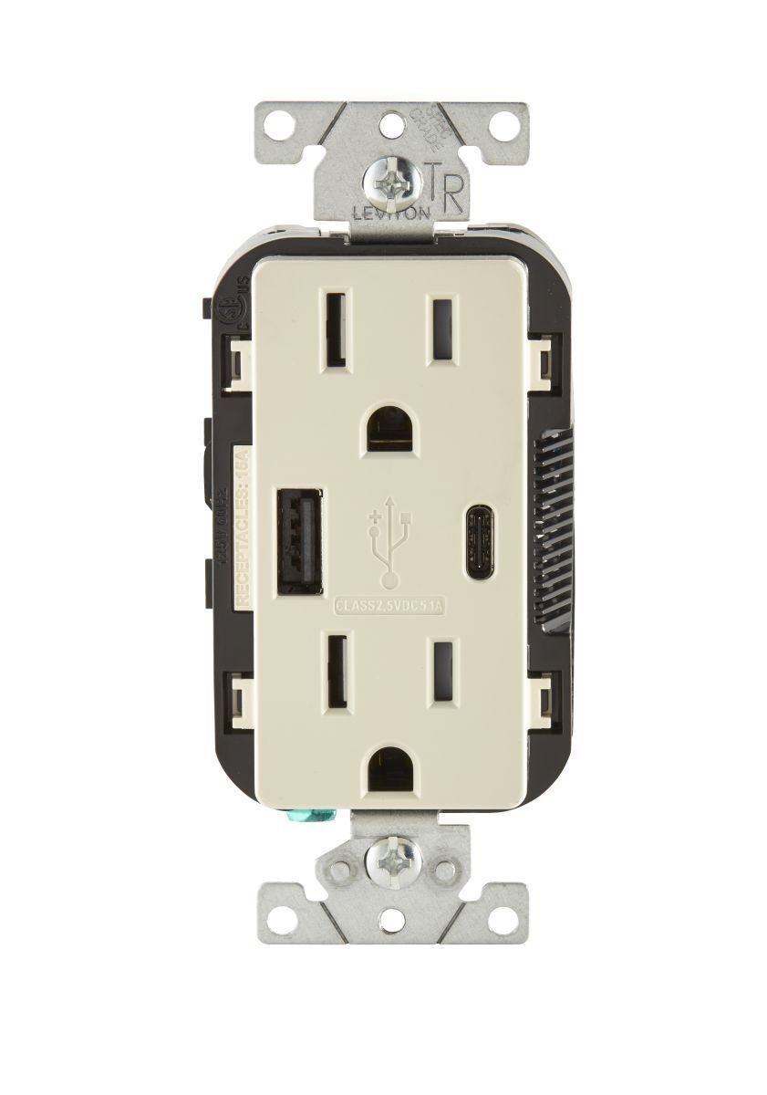 Leviton T5633-T 15A 125V Decora Tamper Resistant Type A and Type C USB Charger Duplex Receptacle Outlet, Light Almond