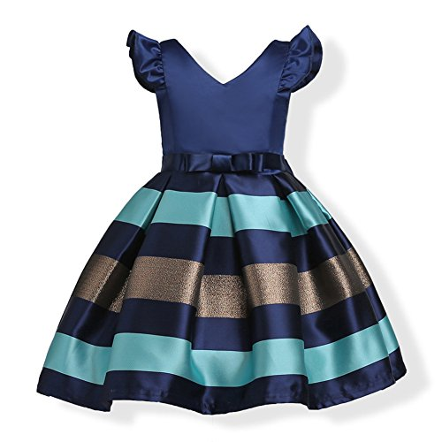 WeeH Girl Dress Gown Party Wedding Ruffles Dresses Ring Bearer Princess Dress Roay Blue 5-6